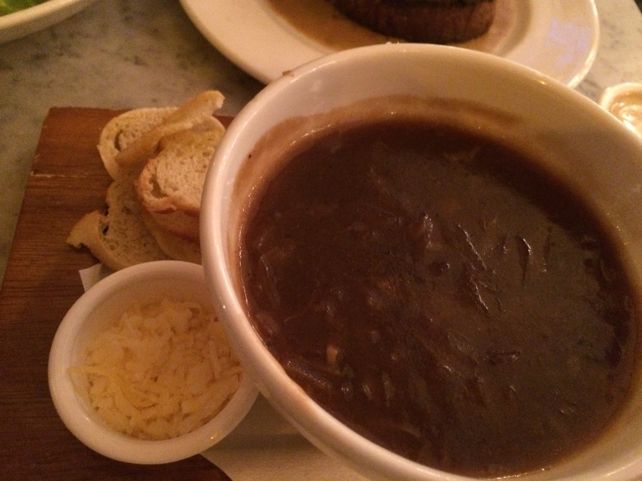 Probably the best french onion soup I've ever had - lots of caramelized onions and sweet undertones.