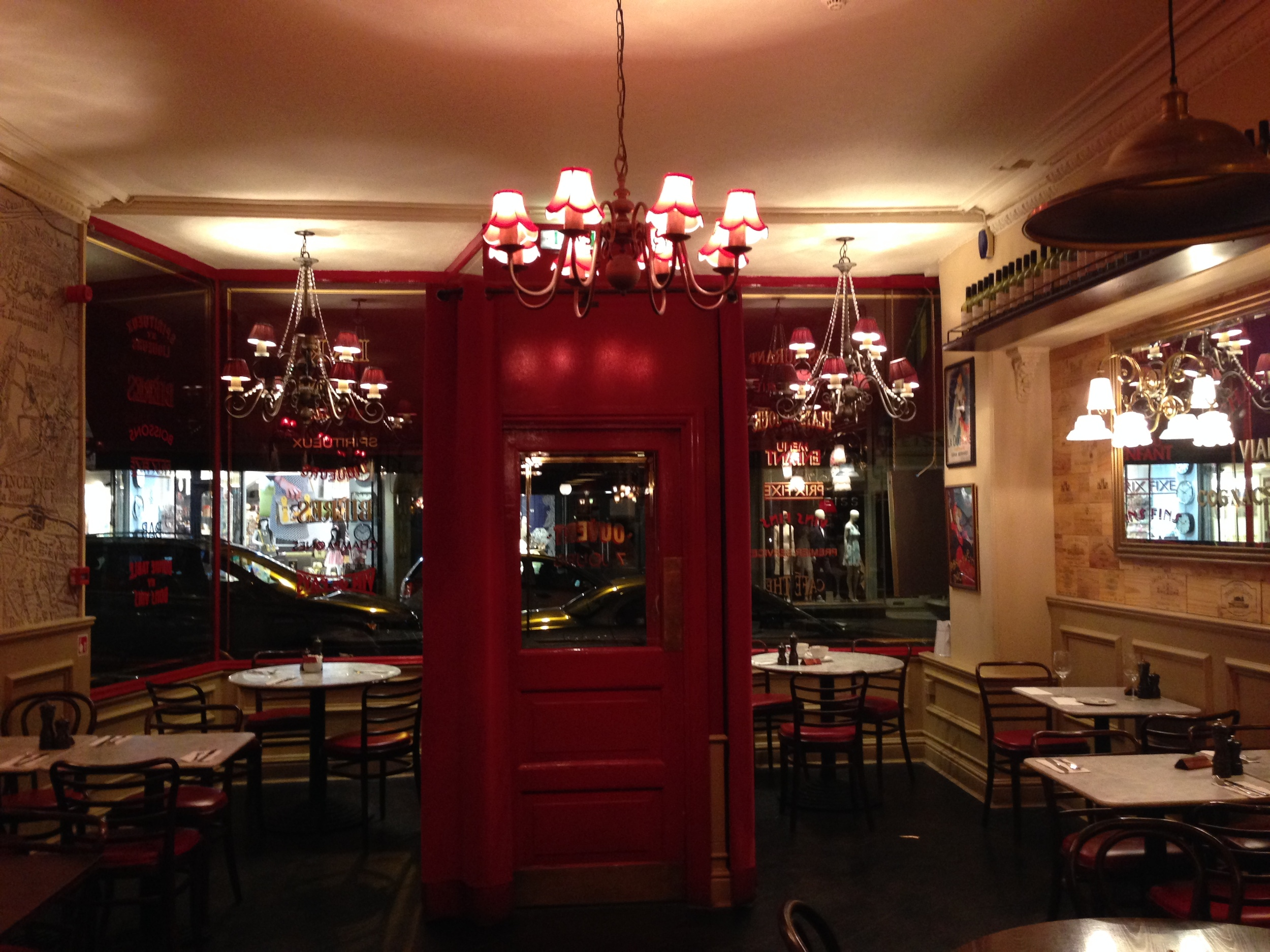 The entryway of Café Rouge.