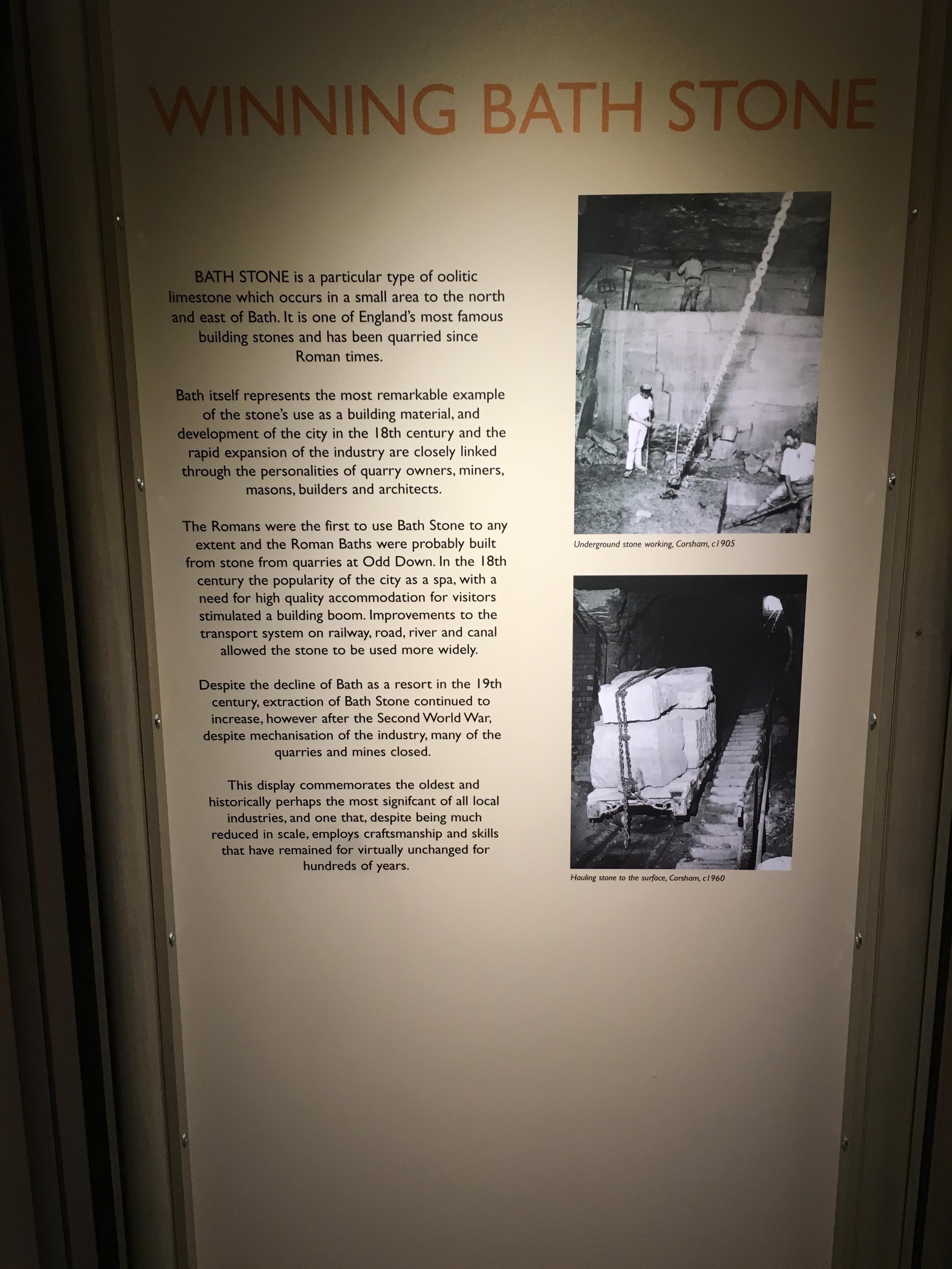 More information on winning Bath limestone.