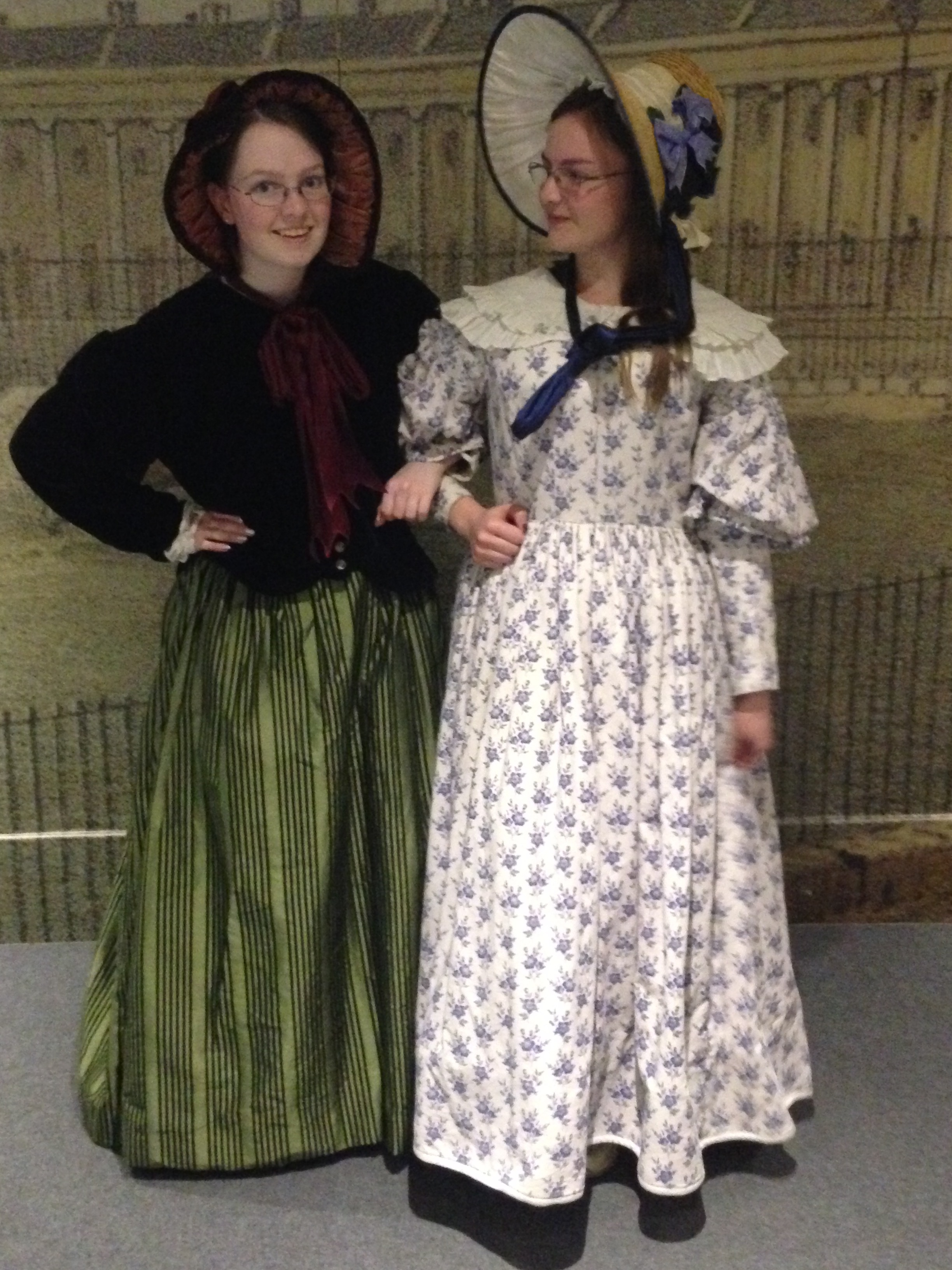 Me in a 19th-century costume, with my sister also in a 19th-century costume.