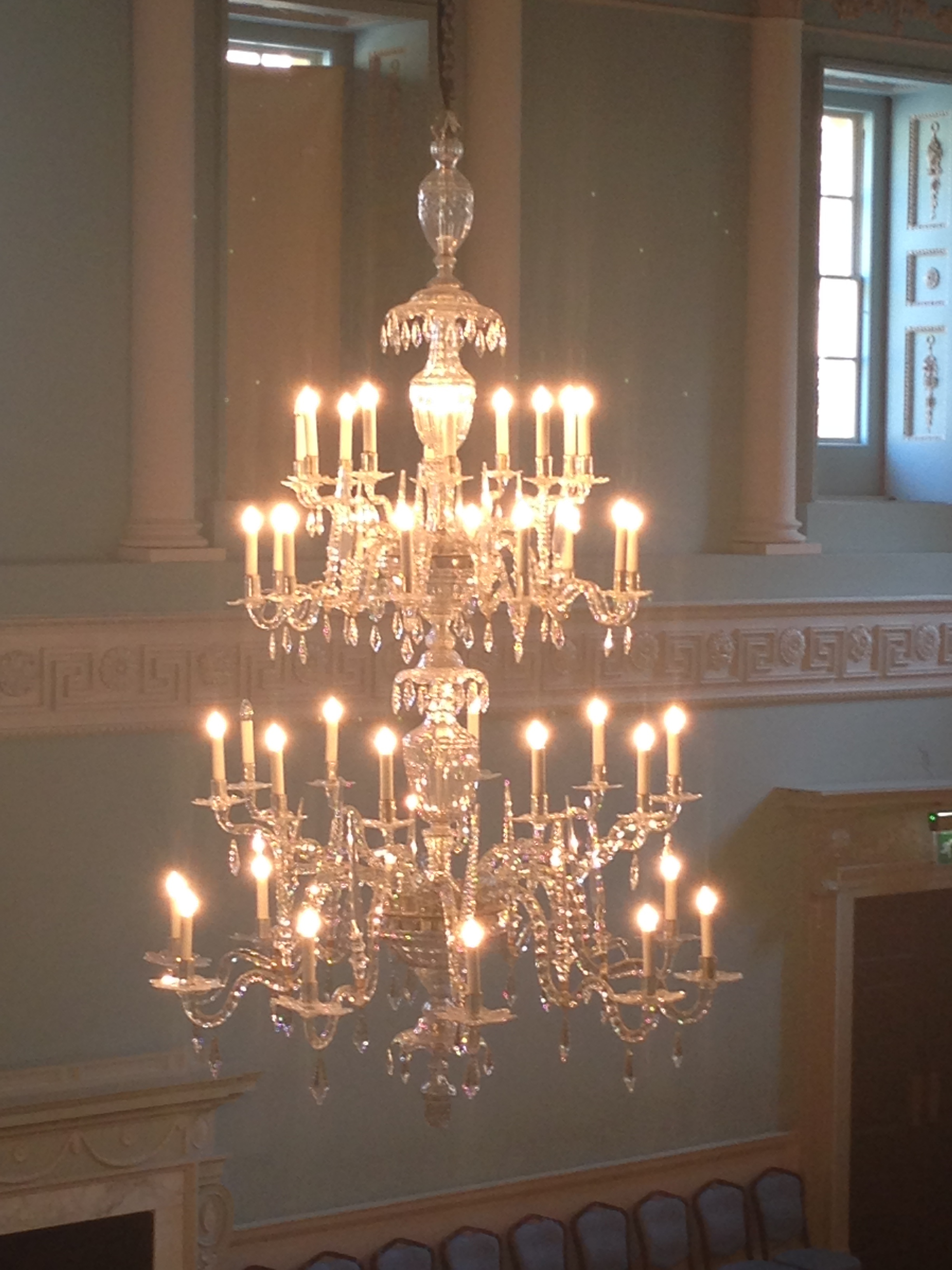 Close-up of one of the chandeliers.