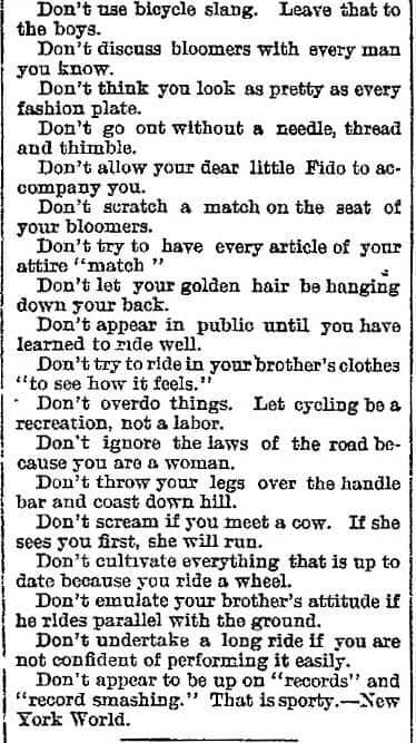 "[List of ""Bicycling Don'ts for Women"" New York World, 1896]"