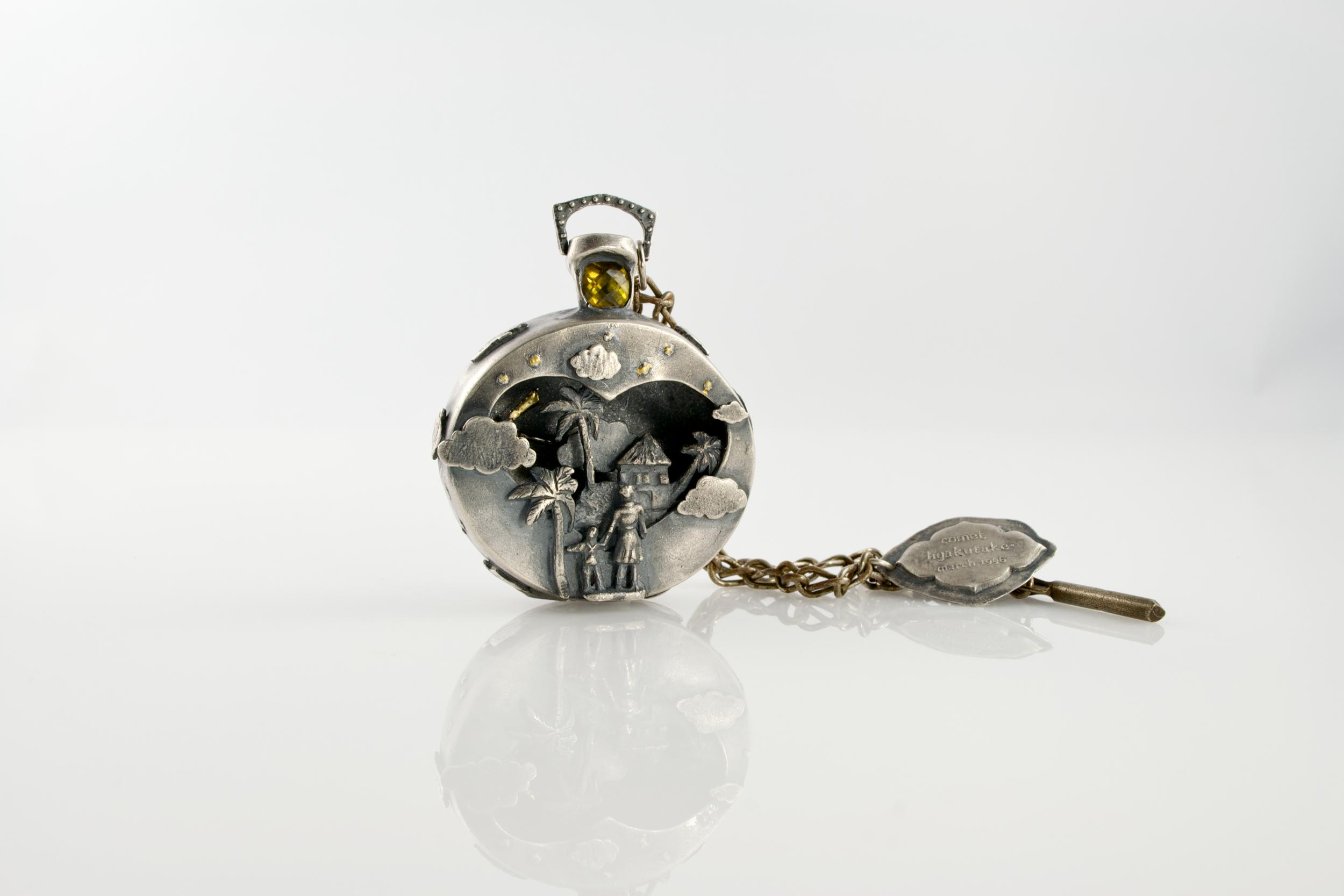 Mechanical timepiece pendant  ; silver, 18k, 24k, brass, olivine, found object; 2012-13