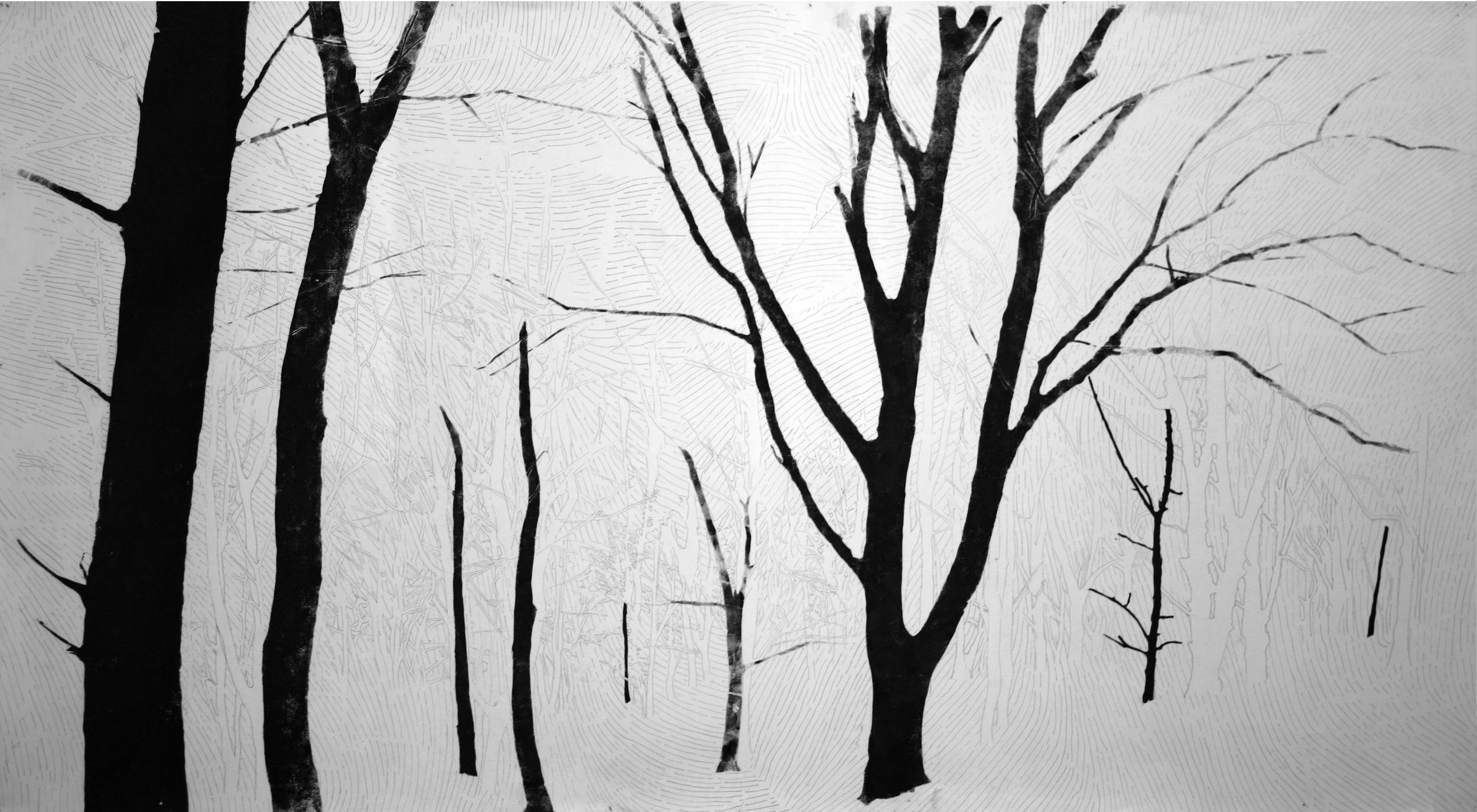 HIDE & SEEK By Etienne de Fleurieu, dessin à la mine de plomb et encre taille douce pour gravure avec empreintes de main.