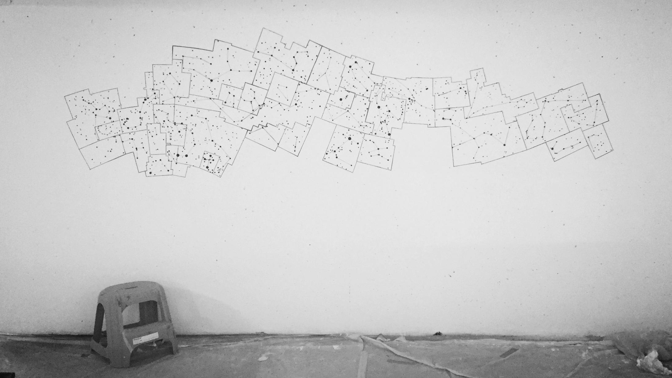 2KM3 contemporary art platform by Etienne de Fleurieu, stencil on wall