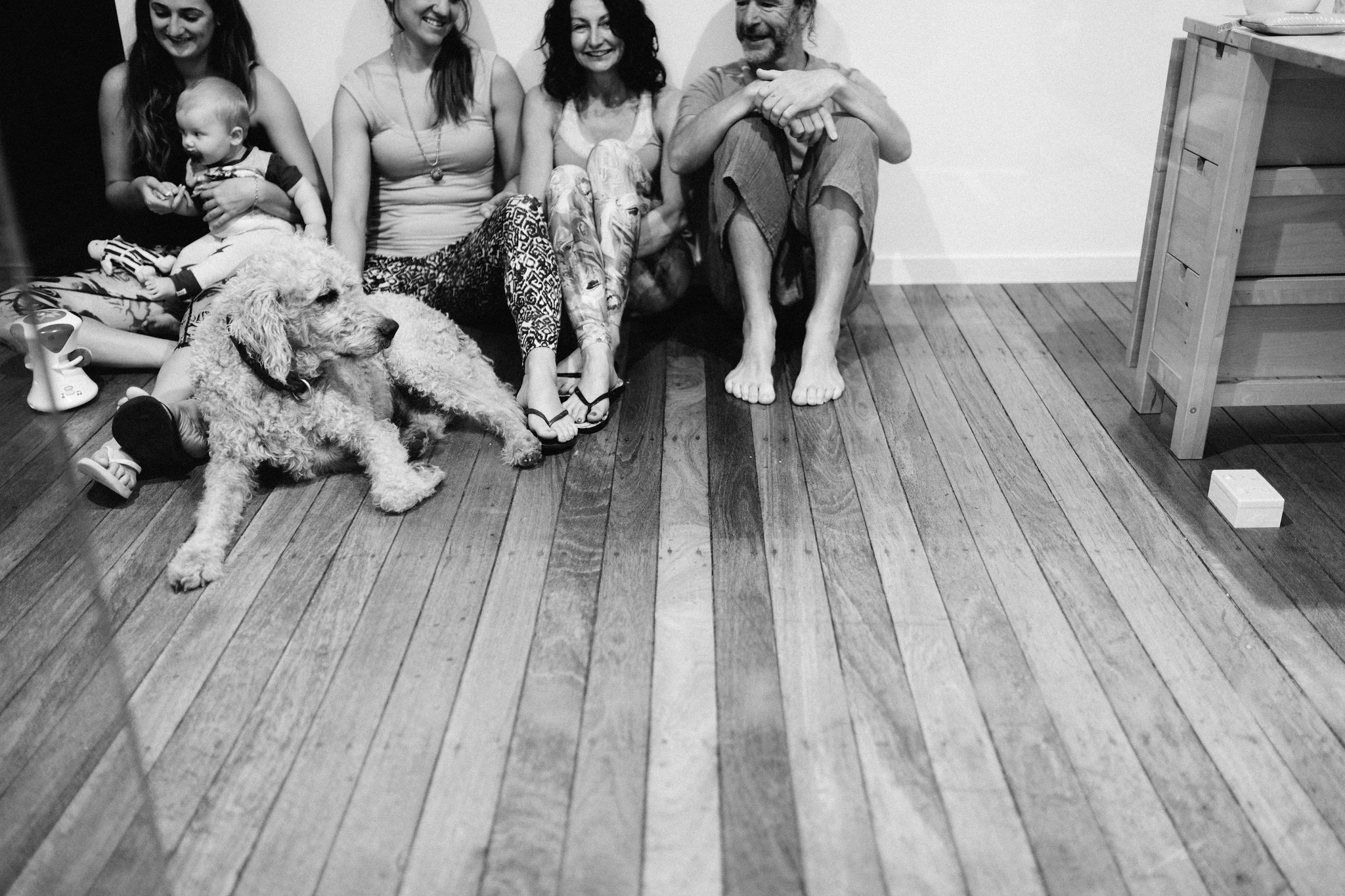 Messy human yogis hanging out with Benji