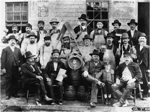 "Oppmann Brewery workers in 1880. The star on the barrel    (known as ""brewer's stars"") signified purity and quality."