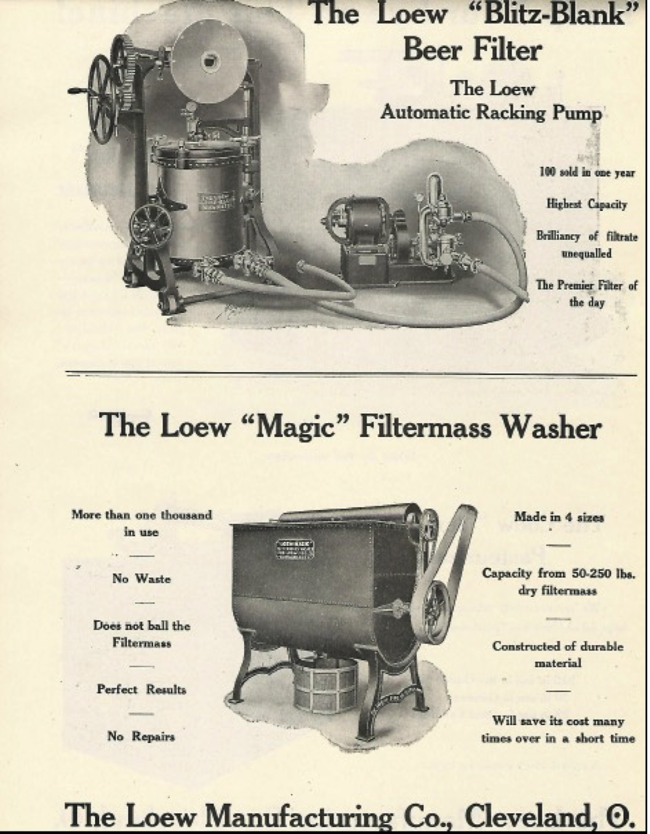 The Lowe Manufacturing Company seemed to specialize in filtering, cleaning, sanitization and      pasteurization of beer and brewing equipment and associated brewing supplies. They were a     consistent advertiser of their products.