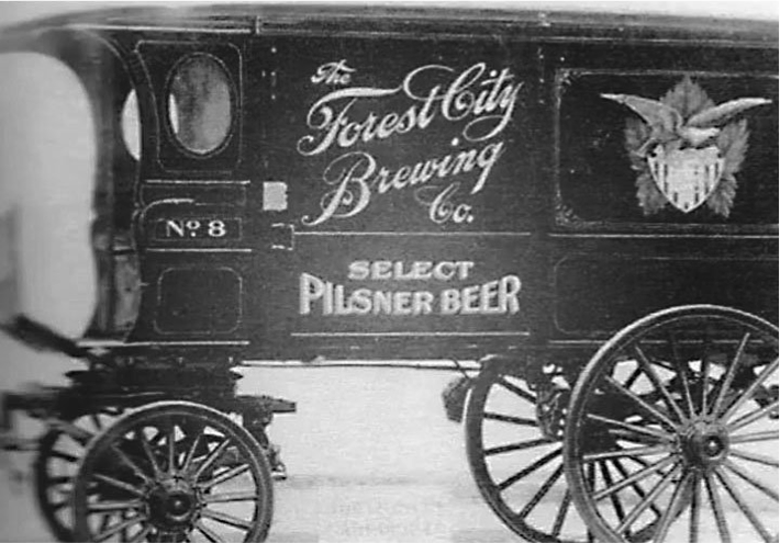 Forest City Brewery horse-drawn beer delivery wagon c.1880