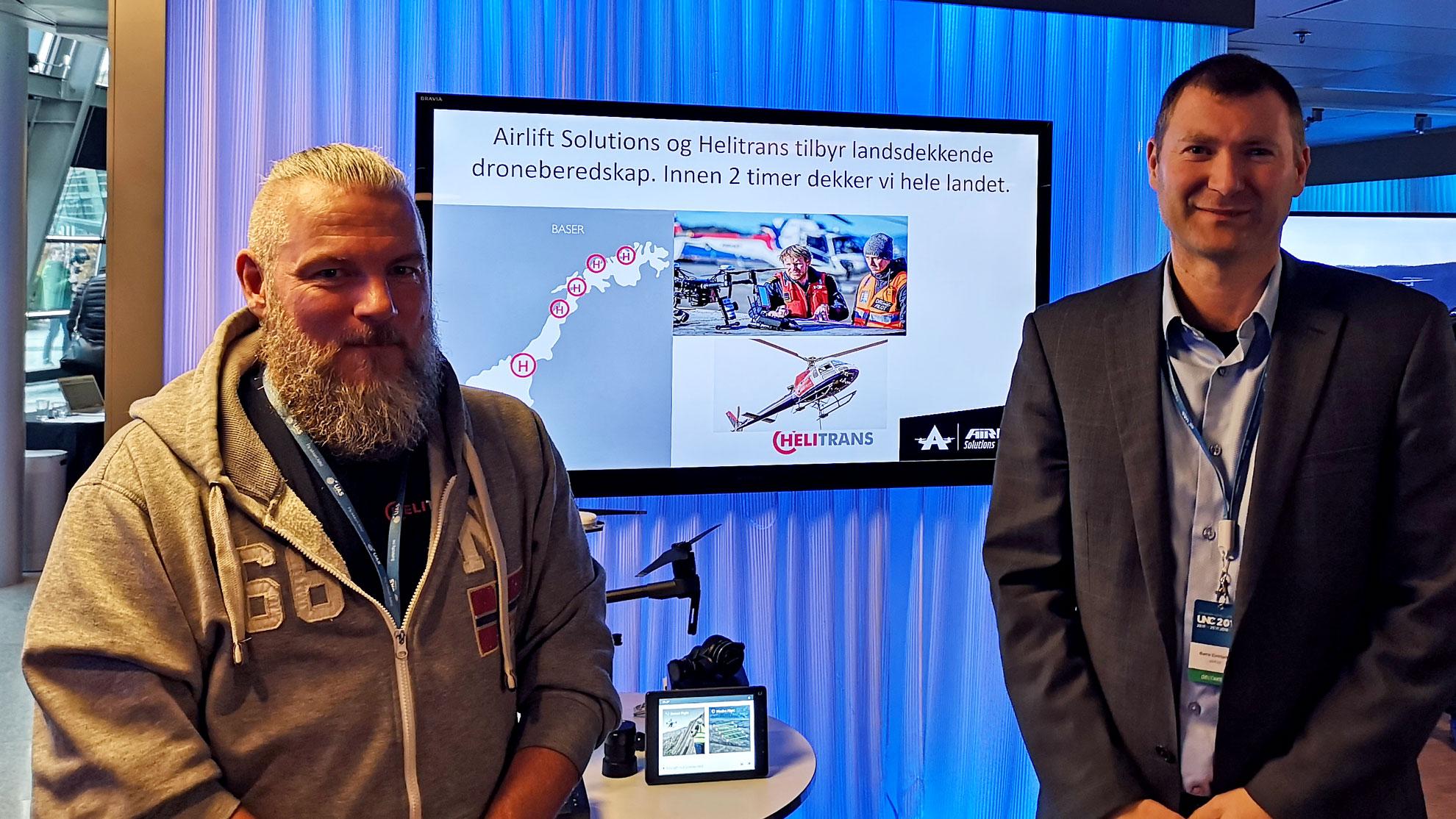 Airlift Solutions og Helitrans har inngått et samarbeid for å bli landsdekkende på droneberedskap. Her på Telenor EXPO 23. november.