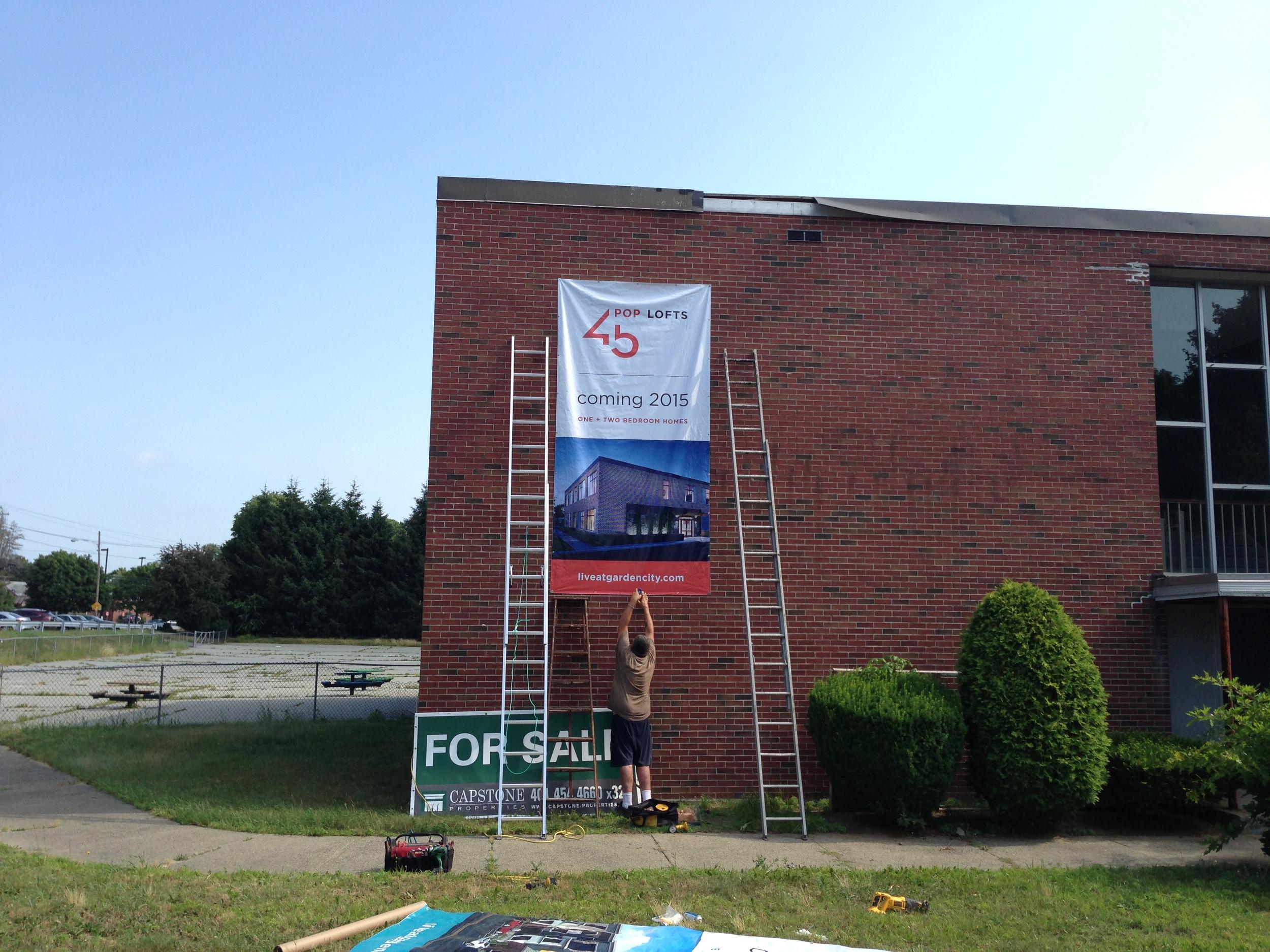 New banner - construction begins