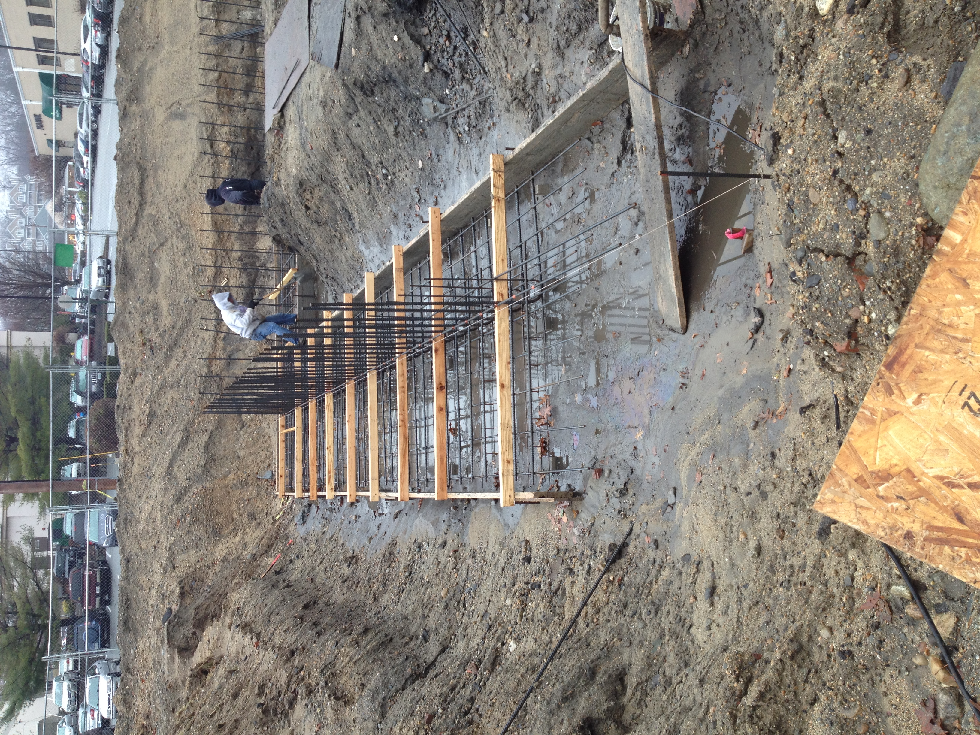 Rebar and forms for the foundations at 125 Midway