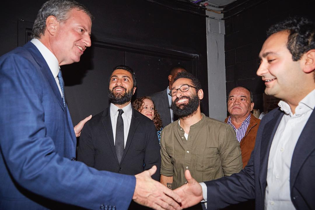 As mentioned in the intro, Mayor Bill Deblasio (left) at Elsewhere signing the repeal of the historic cabaret law (1926-2017) with Dhruv, Jake, and Rami (left to right).