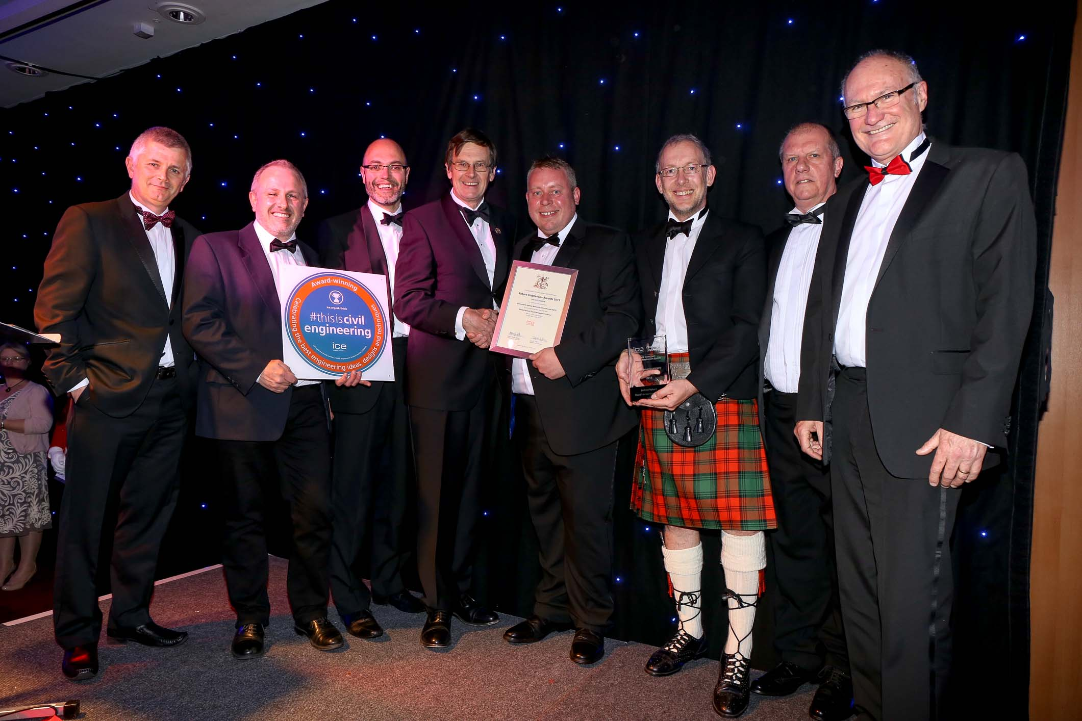 Flow Partnership member, Paul Quinn (second from left in photo) and his partners and team win the prestigious ICE award for their iconic BELFORD PROJECT  (read about project on our website here)