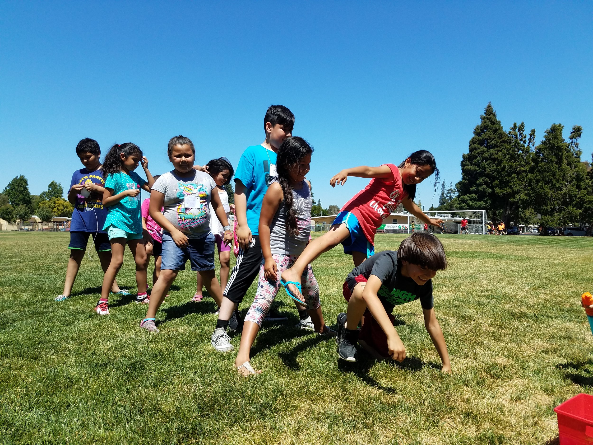 VBS Games - VBS students line up to participate in a game.