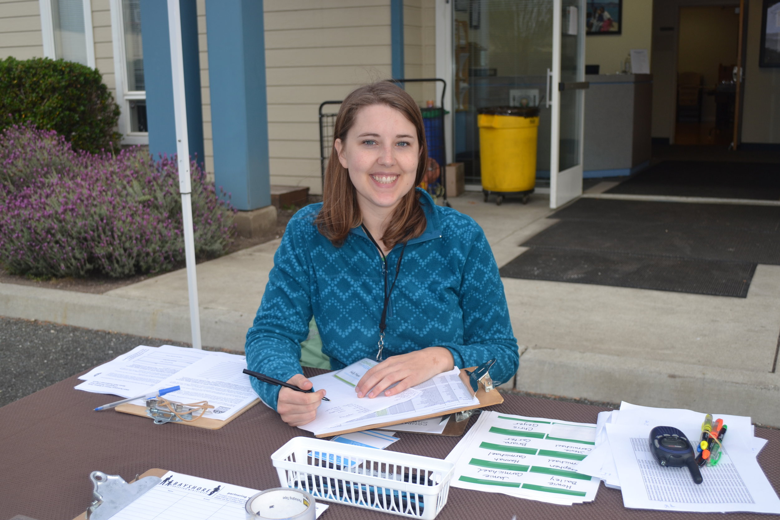 Compassion Weekend - Here Holly heads up registration during Compassion Weekend.