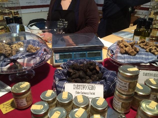 Black truffles on display