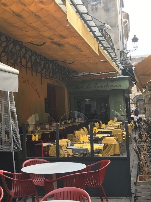 Café today still with a yellow awning