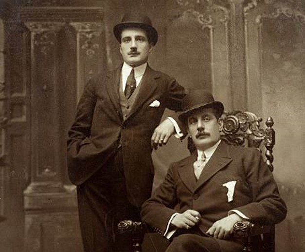Antonio with his father Giacomo seated