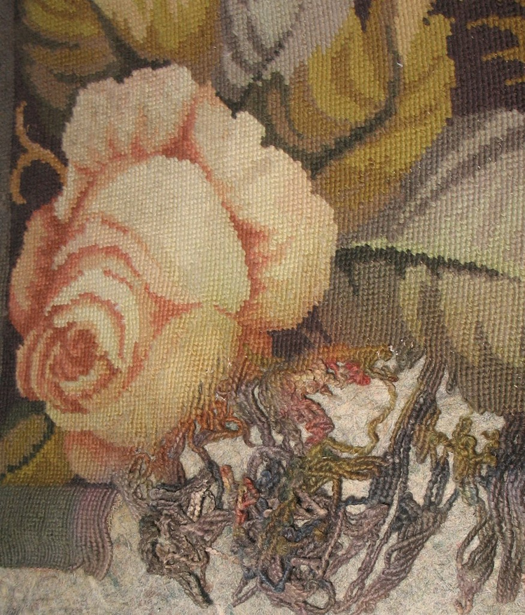 French Needlepoint Before Reweaving