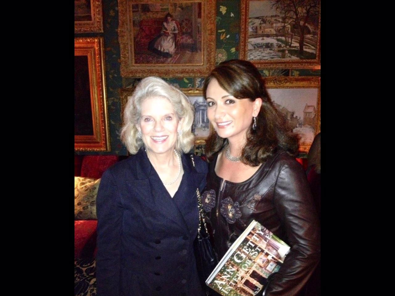 Deborah Hatch (Art Curator for Mrs. Ann Getty)and Papillon Rug Care owner Mahnaz Shoeiby at Mrs. Getty's residence.