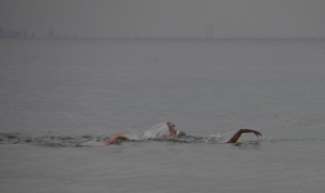Madhu, Mark and Loren swimming in 5C water.