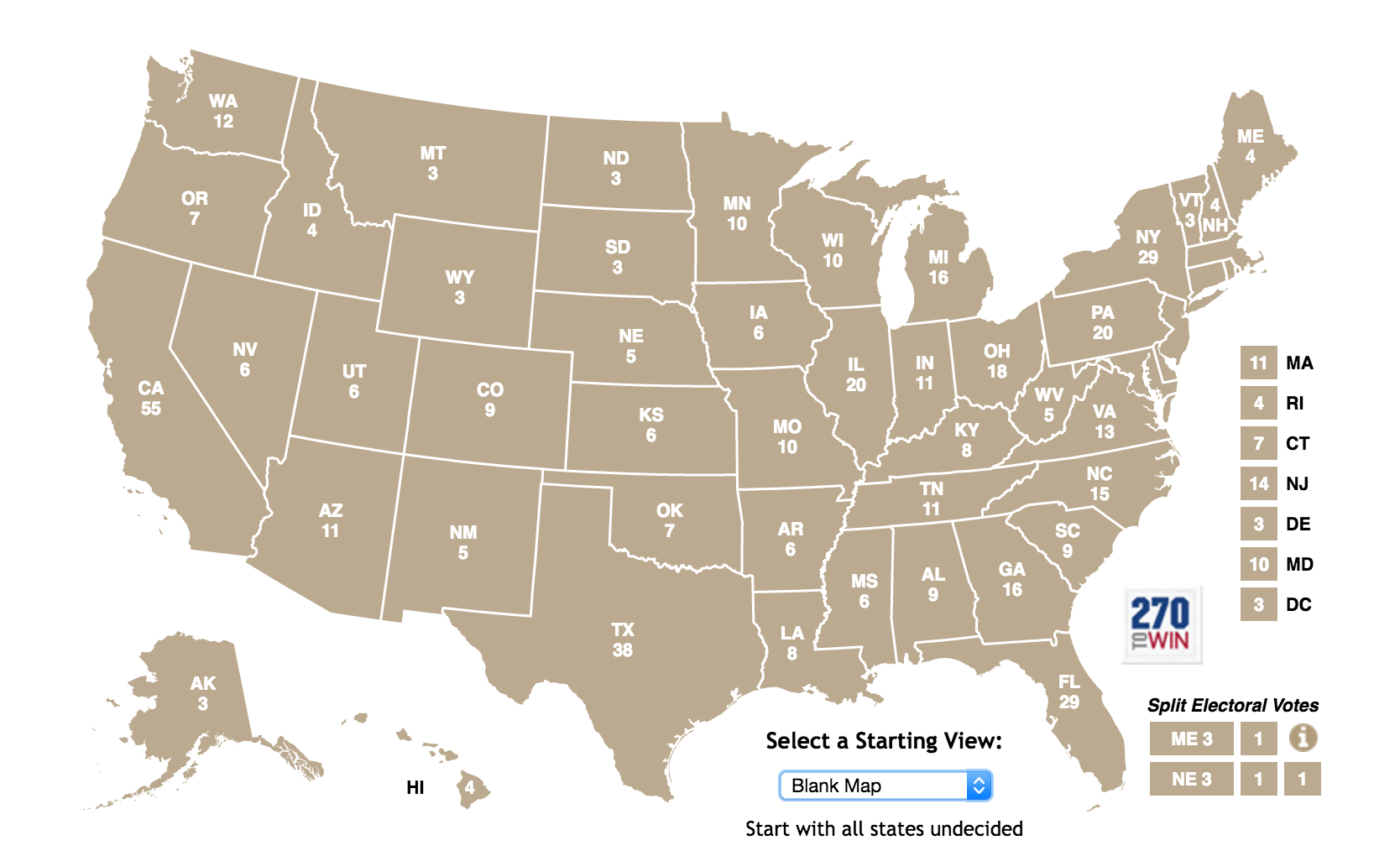 Electoral votes by state, 2016. Courtesy of   270towin.com