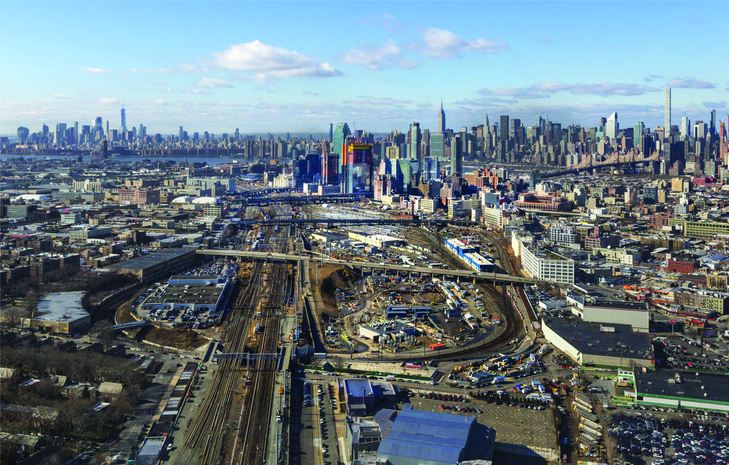 Overall Aerial of Sunnyside Yard in 2016. Looking west towards Long Island City and Midtown Manhattan