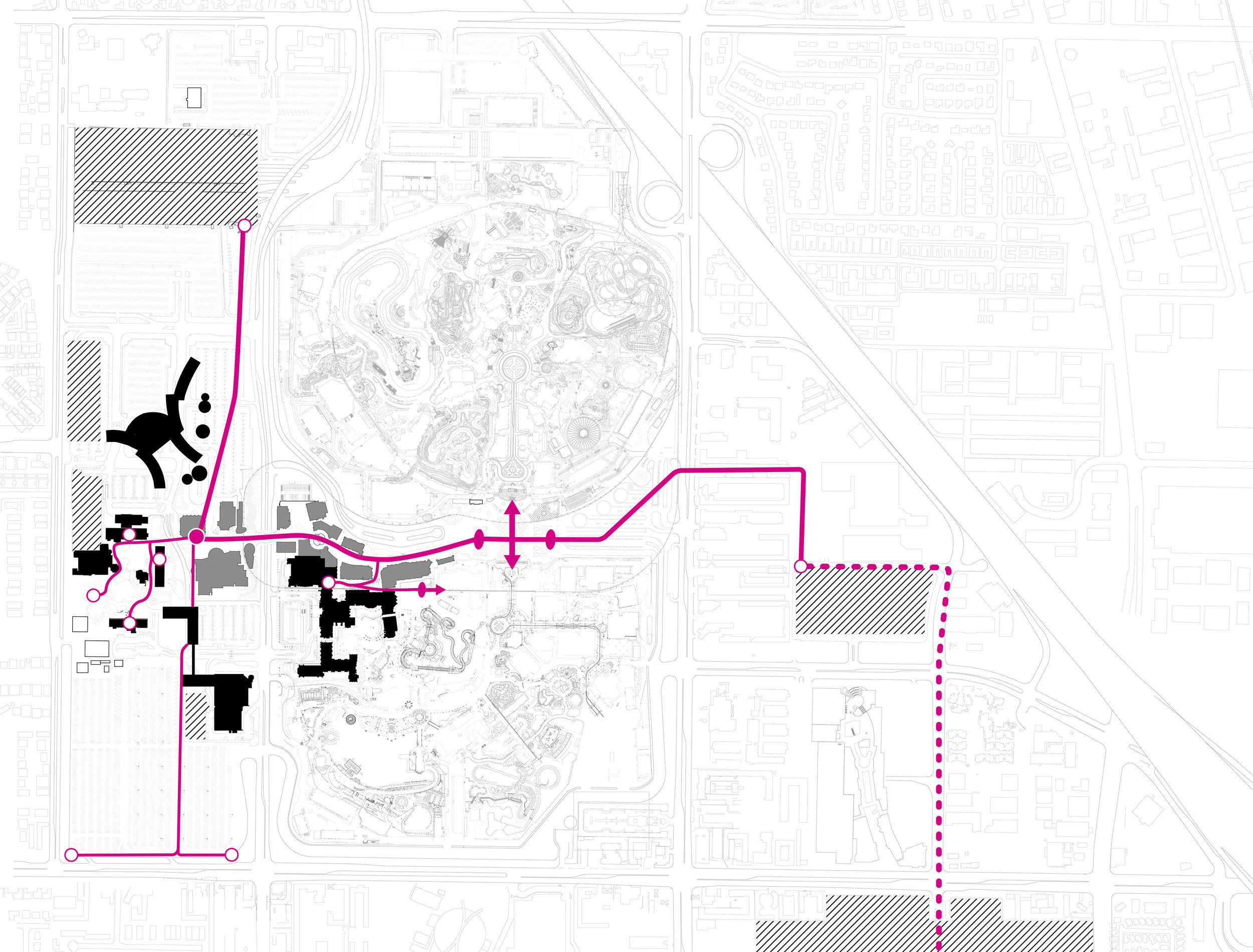 Reorganized pedestrian flows to focus on experiential procession