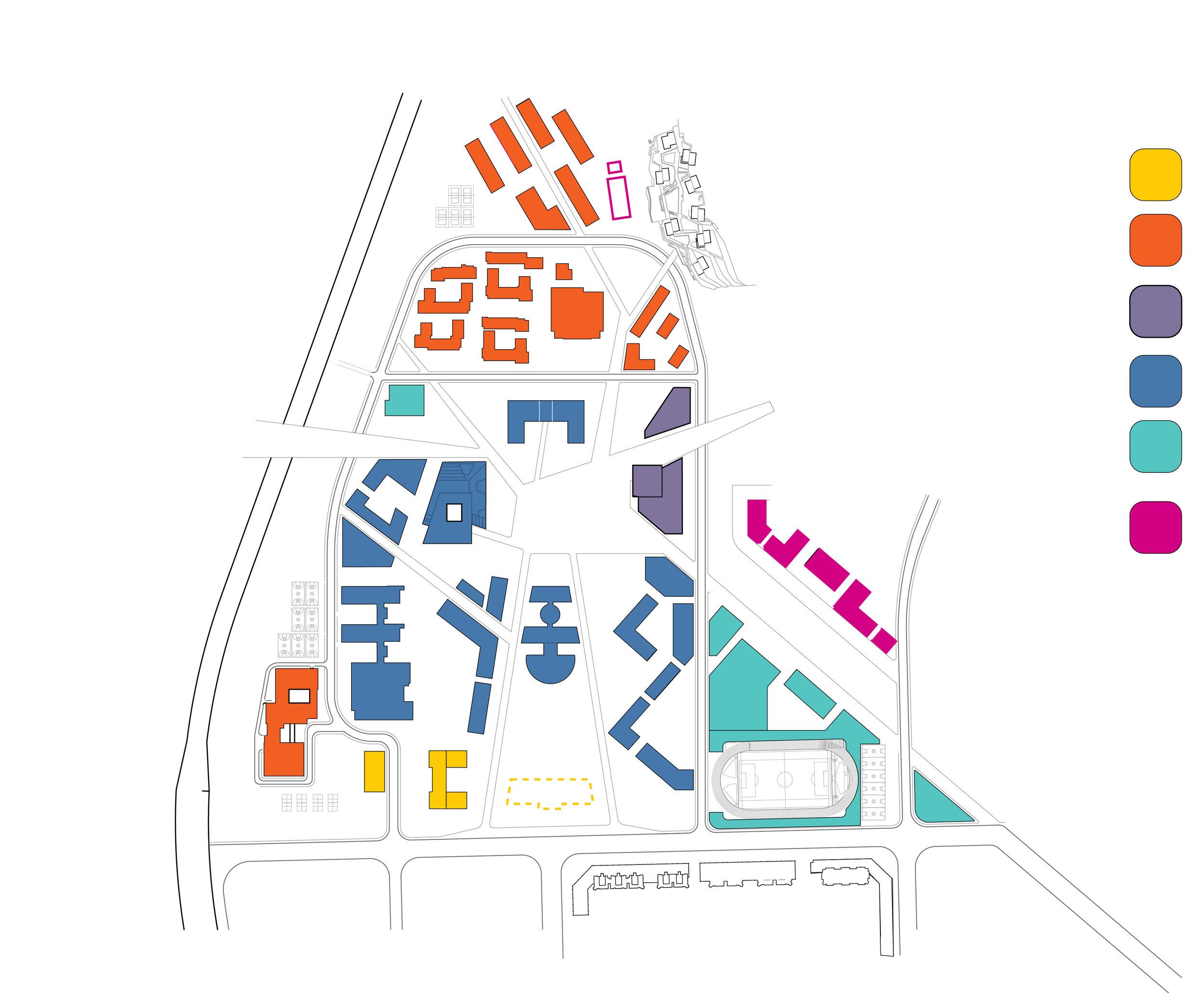 Programs organized through quasi-traditional American campus quads