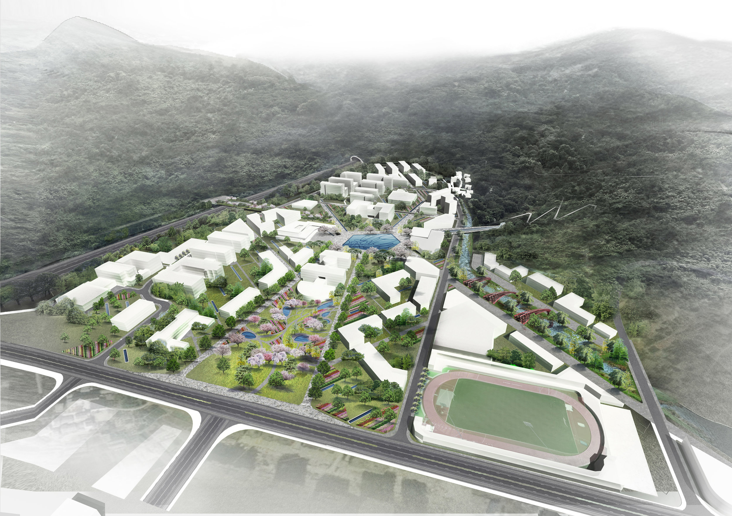 The future campus sitting in its natural ravine between two mountains