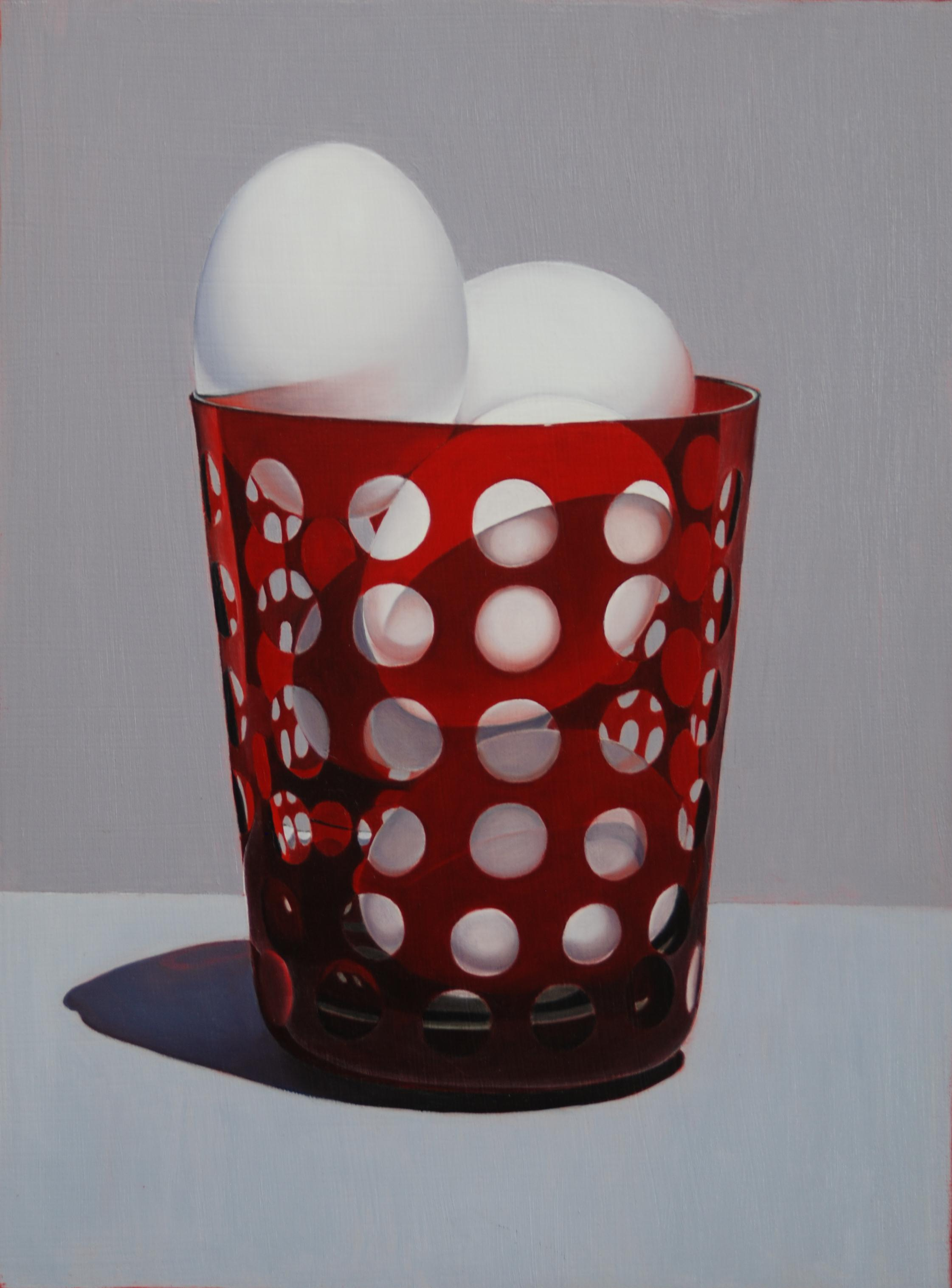 """Eggs In Red Glass"" 20""x16"" Oil $2,000"