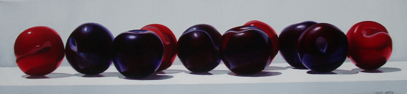 """10 Plums"" 8""x32"" Oil $2,400"