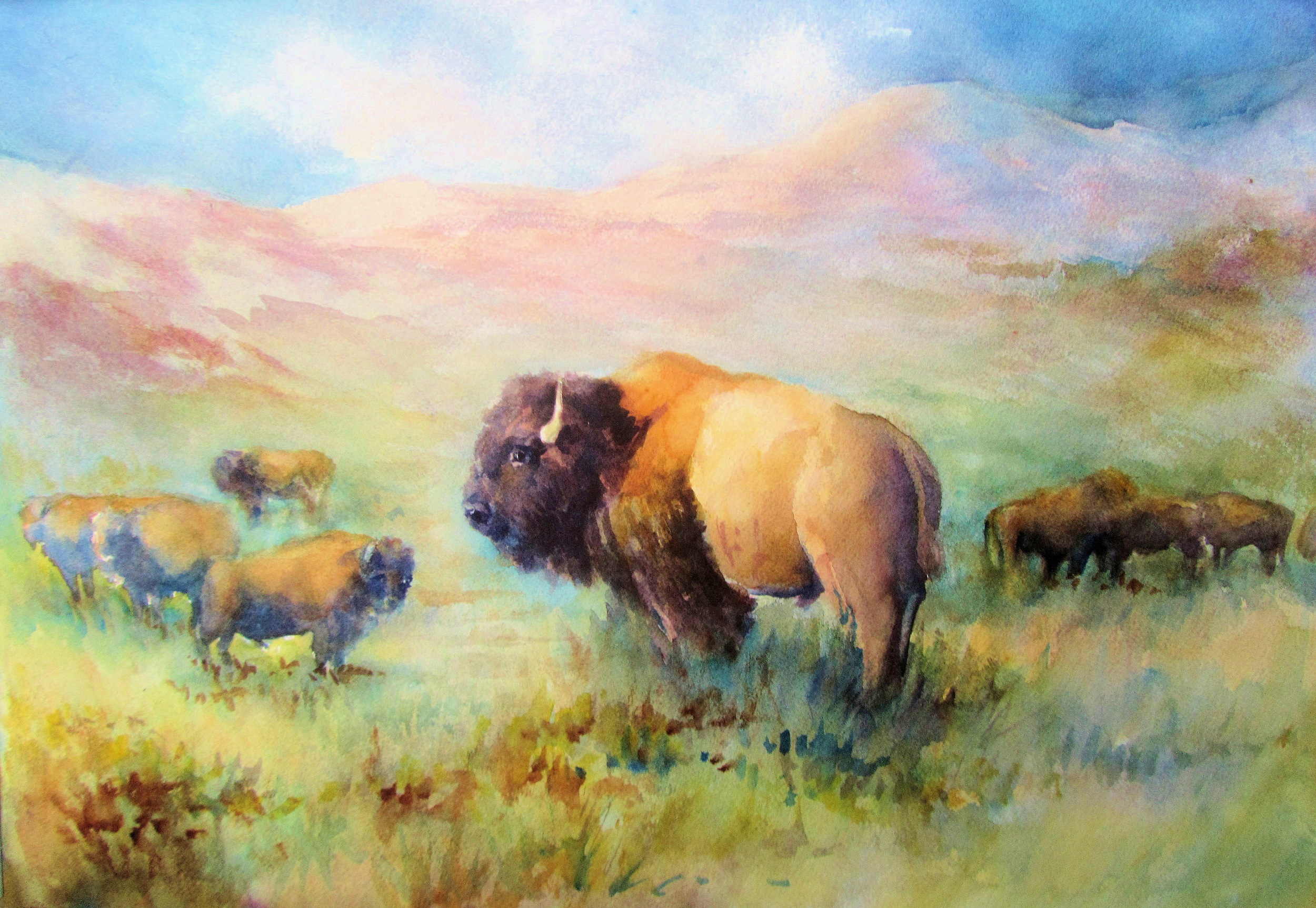 """King Of The Hill"" 24""x30"" Watercolor $599"