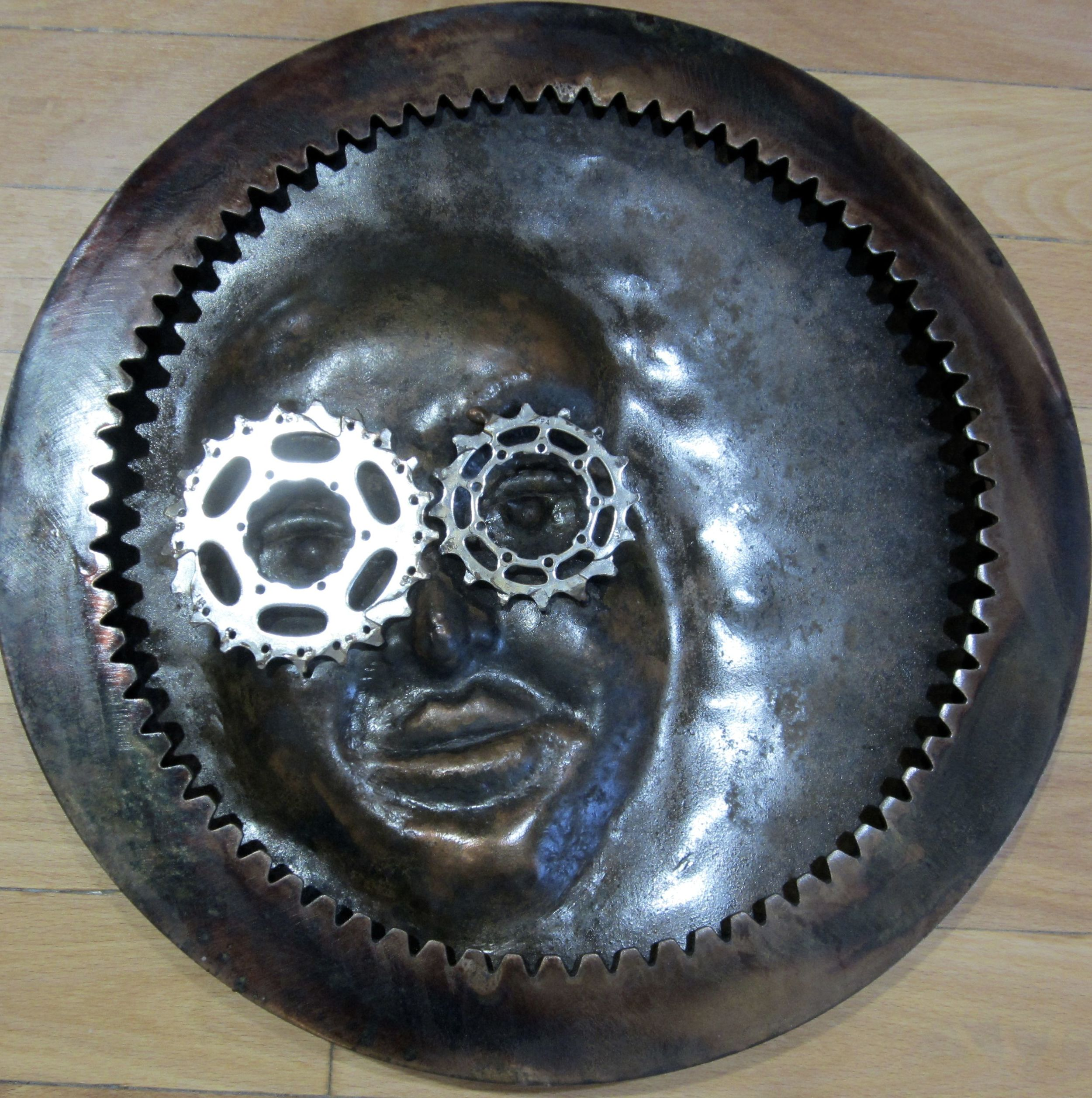 """Small Face"" 13 1/2""x1/2"" Metal $375"