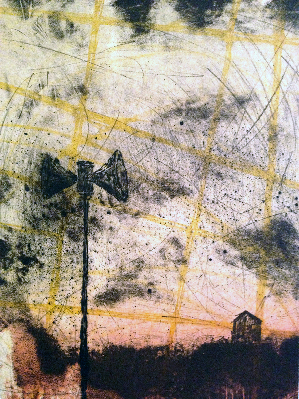 """Recollection: Interference"" 19""x23""  Stone Lithograph, Intaglio, Chine Collé $350"