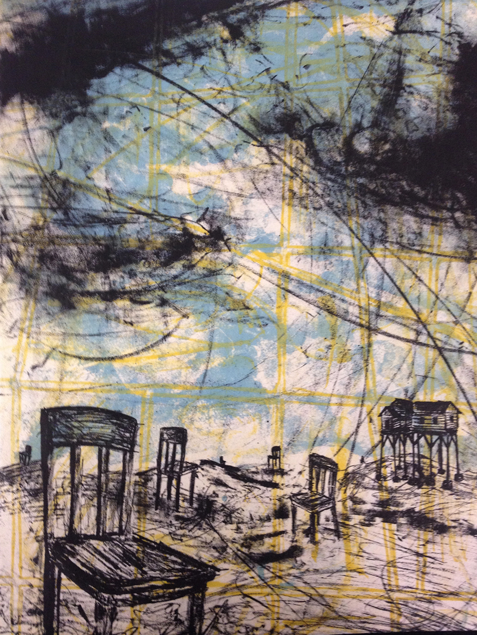 """Recollection: Journey Home"" 19""x23""  Stone Lithograph, Chine Collé  $350"