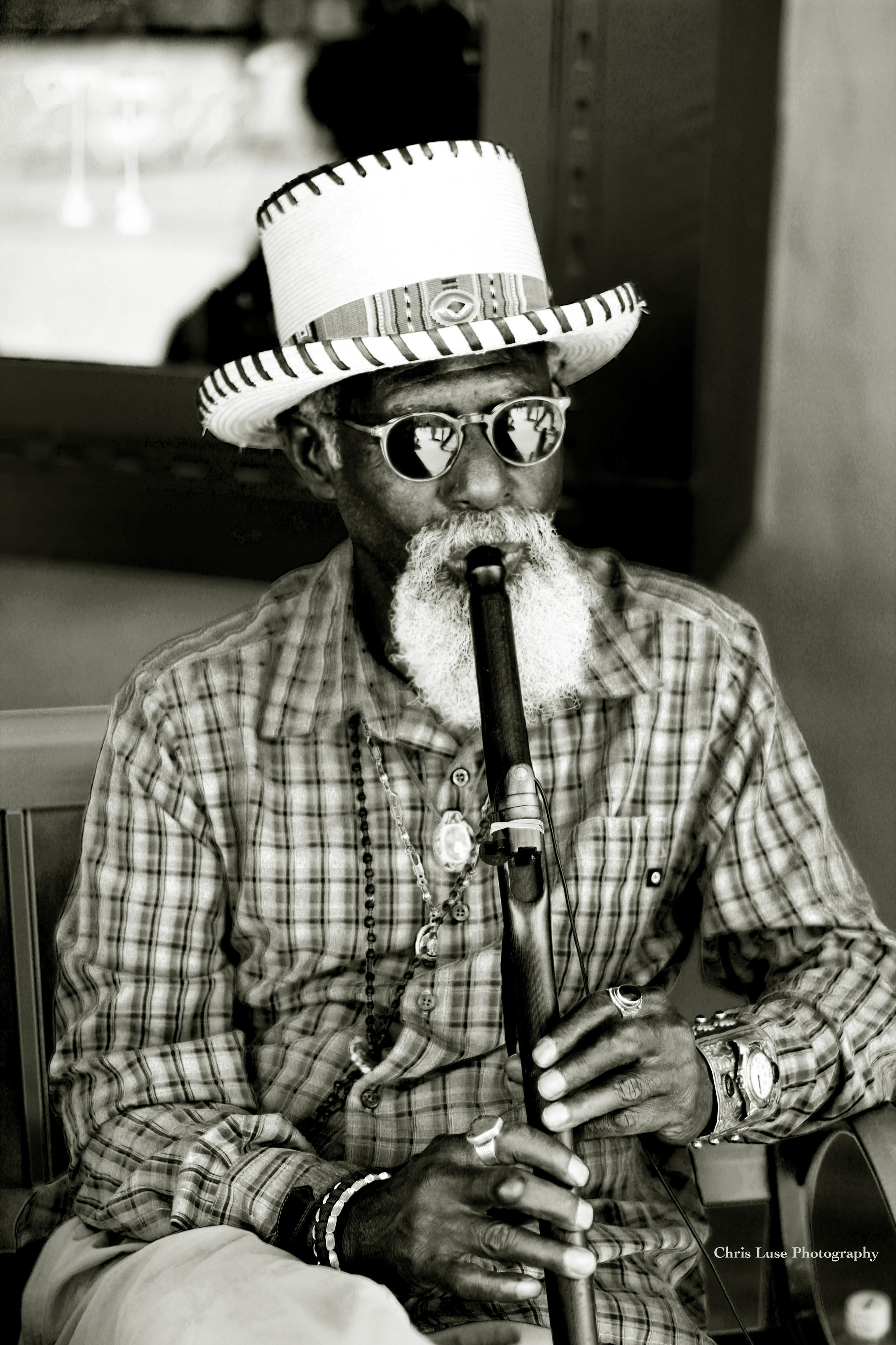 """Man and his flute Santa Fe NM"" Silver Gelatin B&W Photo Toned In Tea $450"