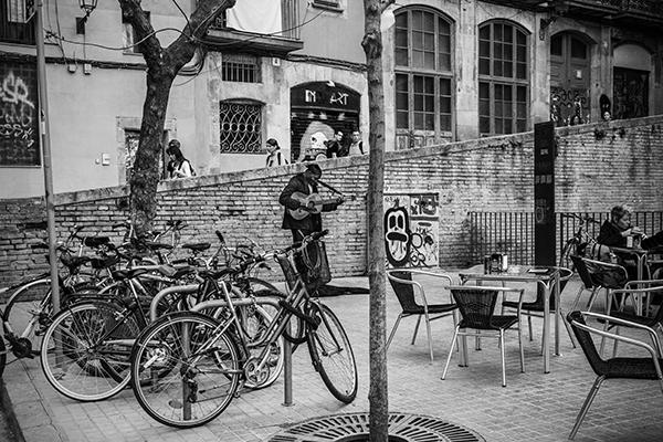 "Minstrel Among Bikes - Barcelona   Photographic Print   16""x24 "" Print $365  22""x30"" Framed $500"