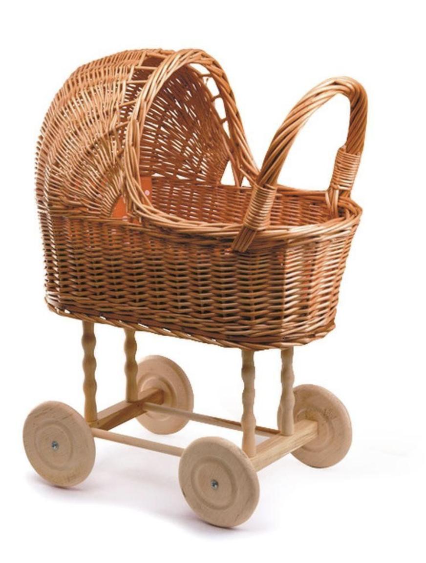 Rattan toy stroller