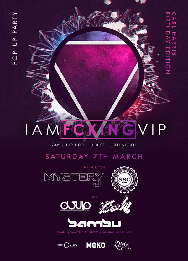 Date: Saturday 7th March  Venue: Bambu  Entry: £10on the Guestlist  Set Time: TBC