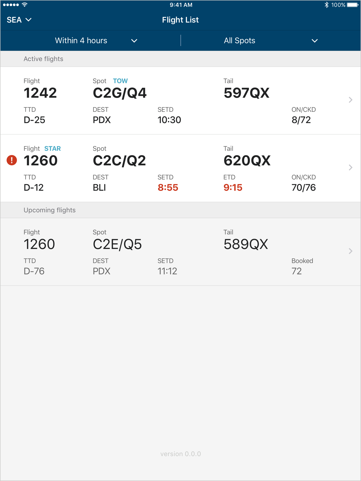 5 - Filtered flight list with version number.png