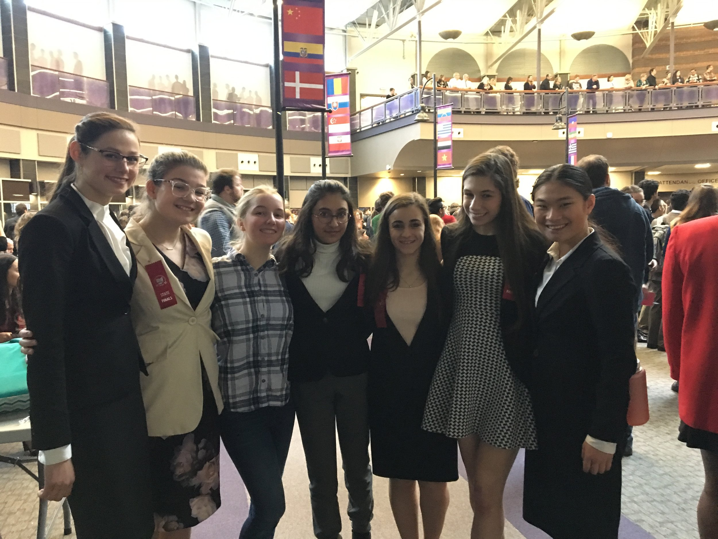 Members of the Elms Speech and Debate Team at the OSDA State Finals are Abigail Cox '19, Adeline Hatfield '20 , Josie Rozner '20, Sara Khan '21, Lacy Nicholas '21, Zoe Zelch '19, and Emily Arnold '21.