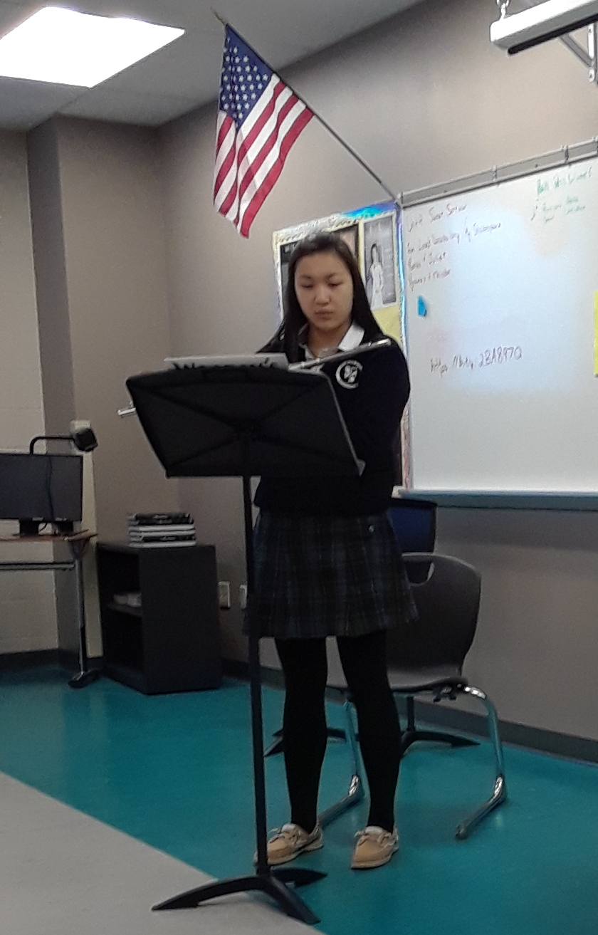 Bernice Sun '20 performs on the flute at District Adjudications sponsored by the Ohio Music Education Association.