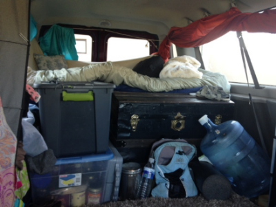 The back of our van home.