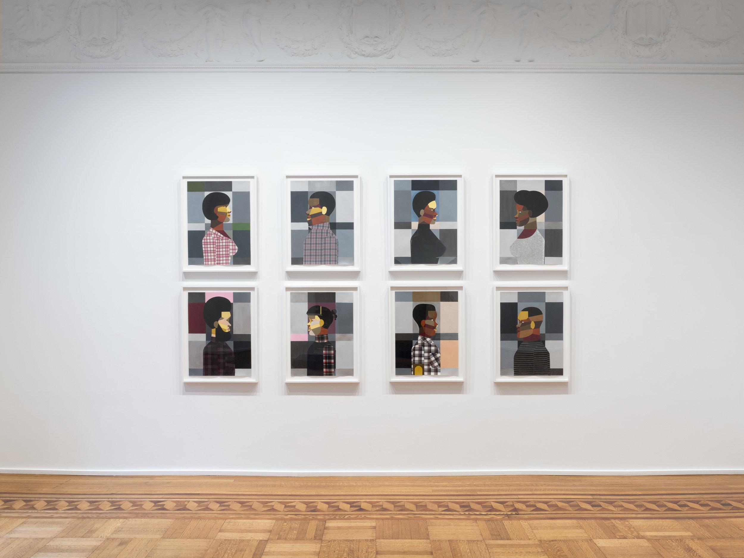 Derrick Adams Portraits installed at Figures in the Urban Landscape Tilton Gallery 2017.jpg