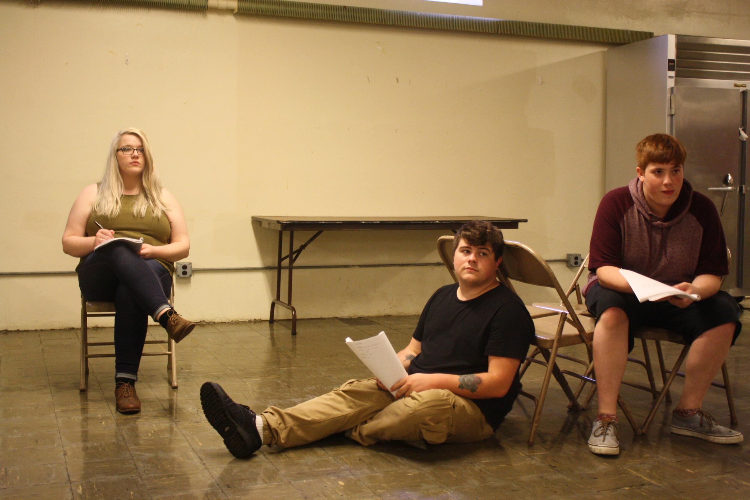 Cast members Samantha Heatherman, Eli Carlin, and Darius Fuller in rehearsal for  Letter Writing .