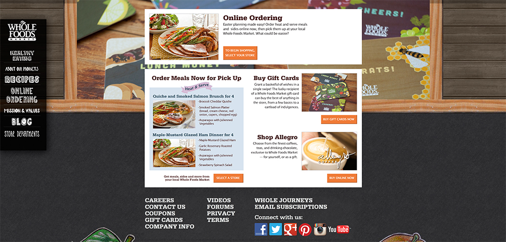 Whole Foods Online ordering page mock-up