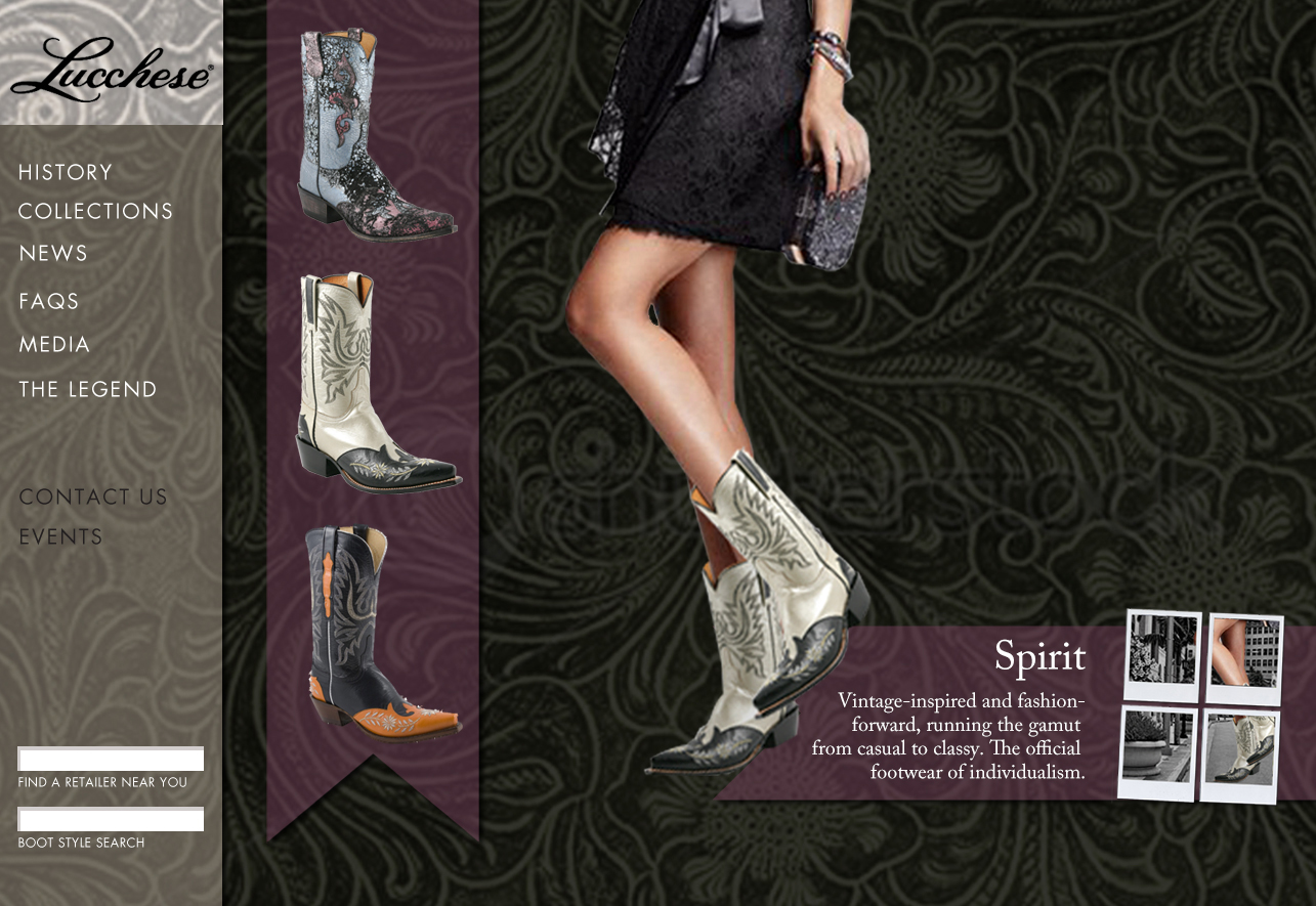 Lucchese Women's Collection page mock-up