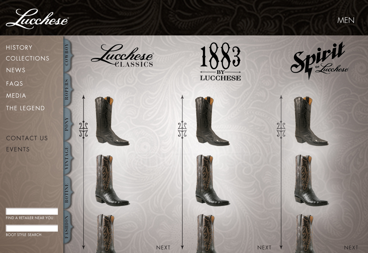 Lucchese Boot page mock-up